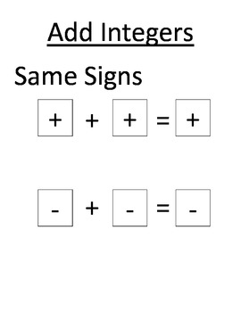 Worksheets Adding Integers Rules rules for adding and subtracting integers worksheet syndeomedia of addition subtraction multiplication division of